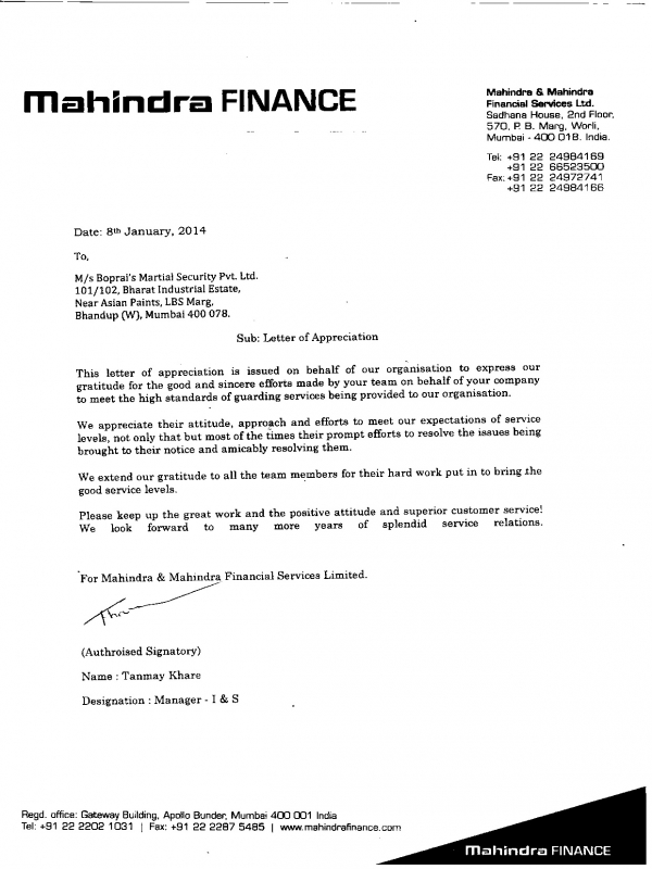 client appreciation letter boparai s martial security